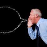Businessman chalk speech bubble
